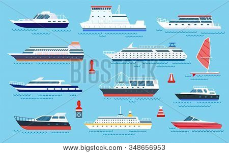 Flat Ships. Speed Boats, Sea Transport. Flat Cruise Yachts, Sailboat And Motorboat. Cartoon Ocean Tr