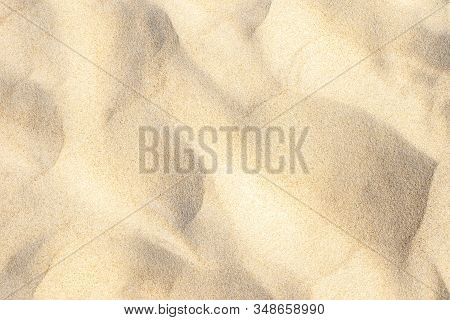 Sand Textured Background. Summer Sandy Beach Backdrop. Natural Sand Pattern. Top View.
