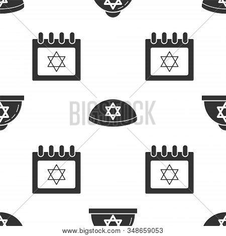 Set Jewish Kippah With Star Of David, Jewish Kippah With Star Of David And Jewish Calendar With Star