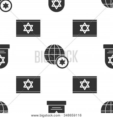 Set Tombstone With Star Of David, World Globe And Israel And Flag Of Israel On Seamless Pattern. Vec
