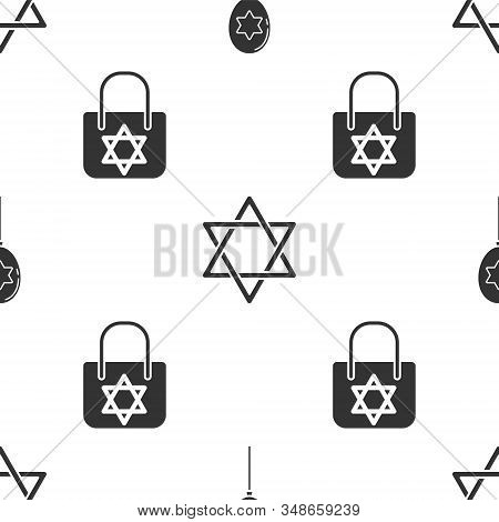 Set Balloons With Ribbon With Star Of David, Star Of David And Shopping Bag With Star Of David On Se