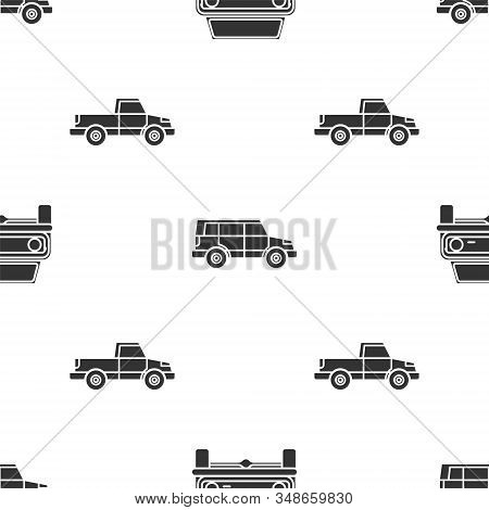 Set Off Road Car, Off Road Car And Pickup Truck On Seamless Pattern. Vector
