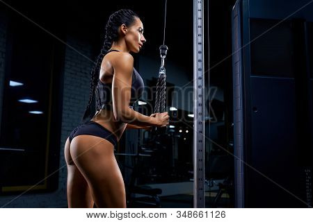 Side View Of Strong Woman In Sportswear With Long Braids And Perfect Buttocks Training Triceps. Attr