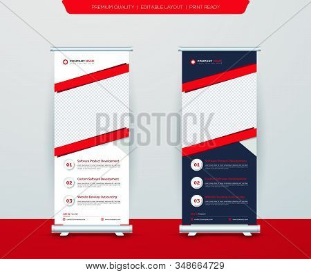 Roll Up Banner Stand Template Design, Blue Banner Layout, Advertisement, Vertical Roll Up, X-stand,