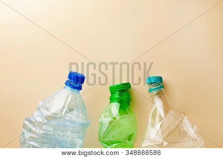 Used Plastic Bottles Crushed.used Plastic Bottles Crushed.environment Pollution Concept.plastic Free