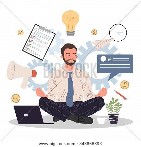 Business Man Meditating And Relaxing In Lotus Position Vector Illustration. Office Man Practicing St