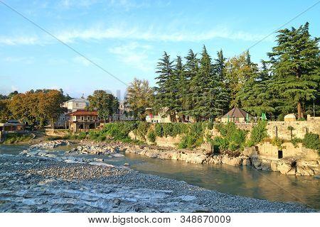 Impressive Landscape Along The River Rioni View From The White Bridge In Kutaisi, Georgia, 19th Sep
