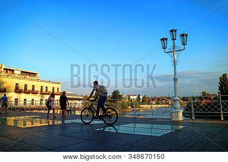 The Famous White Bridge In Kutaisi Of Georgia, A Beautiful Pedestrian Bridge Over The Rioni River, 1