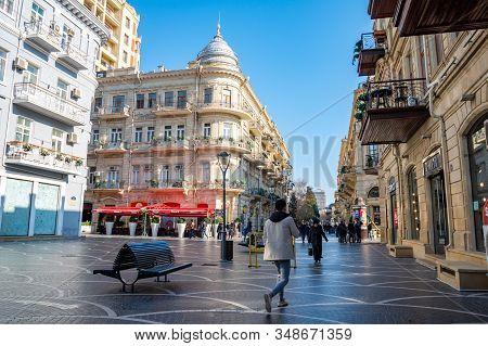 Baku, Azerbaijan 27 January 2020 - People Traveling In The Streets Of Baku.
