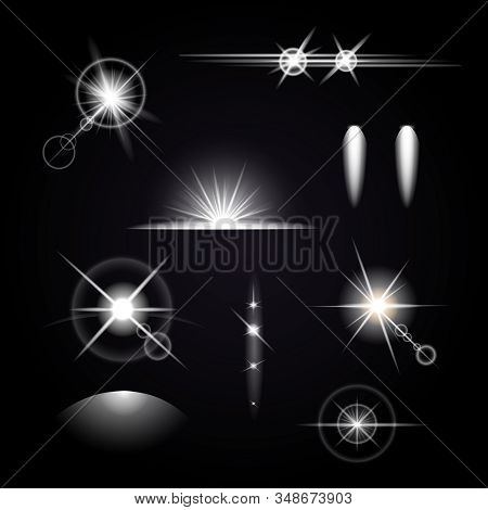 Isolated Light Effects Icon Set With White Abstract Glowing Starlight On Black Background Vector Ill