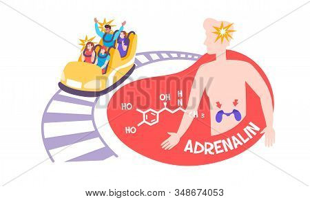 Adrenalin Hormone Flat Composition With Text Chemical Formula Of Adrenaline And People Taking Roller