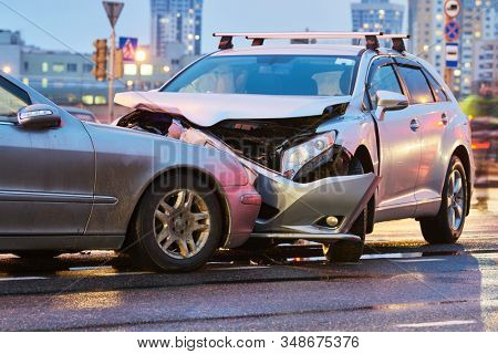 automobile crash accident on street. damaged cars