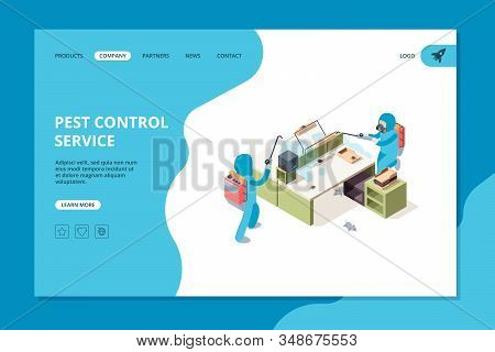 Pest Landing. Insecticide Professional Service Exterminators Chemical Poison Vector Web Template. Di