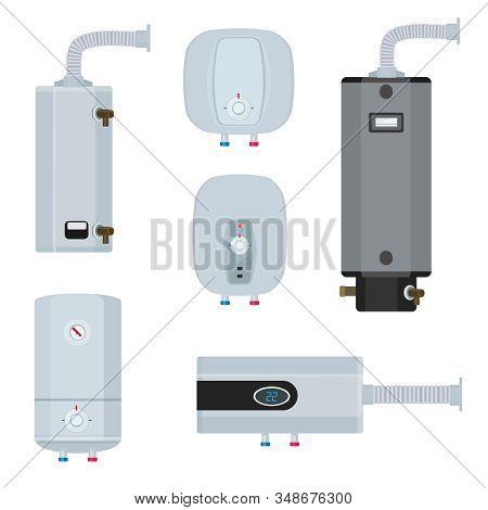Water Boiler. Household Modern Technology Heater Systems Water Tanks Vector Illustrations Set. Boile
