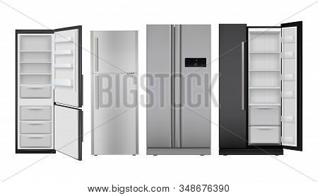 Fridge Realistic. Open And Closed Home Refrigerator Empty Freezer For Healthy Food Vector Set. Freez