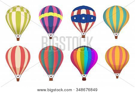 Hot Air Balloon. Colored Aircraft Transport With Basket Sky Airing Flight Vector Collection. Sky Bas