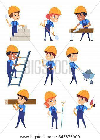 Children Builders. Little Working Characters In Yellow Helmet For Building Professional Construct Ve