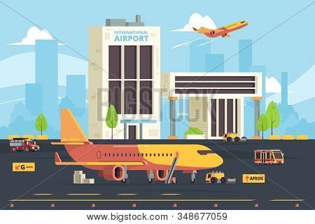 Cargo Plane On Runway. Warehouse Aircraft Preparation Hangar Airport Freight Aircraft Vector Flat Ba