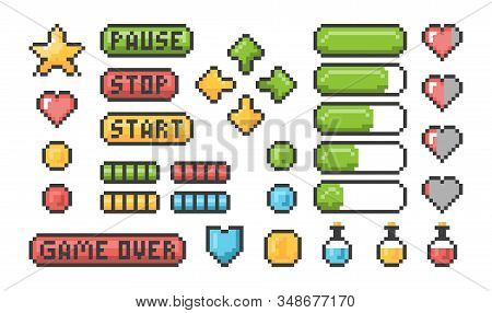 Pixel Game Icon. Ui Web Bars And Buttons For 8 Bit Console Vector Retro Elements. Game Interface, Br