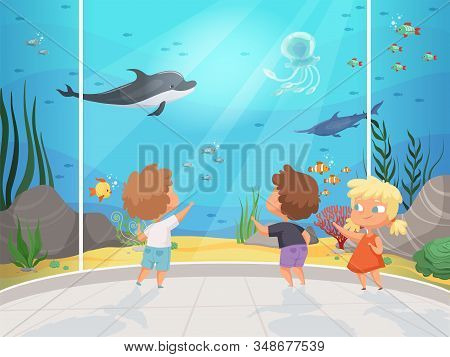 Kids In Aquarium. Childrens With Teacher In Big Water Museum Underwater Different Fishes Ocean Fauna