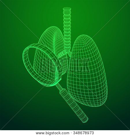 Lungs With Trachea Bronchi Internal Organ Human With Magnifying Glass. Pulmonology Medicine Science
