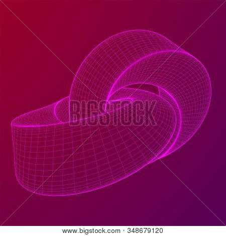 Mobius Strip Ring Knot Sacred Geometry. Spatial Figure With Upturned Surfaces. Optical Illusion With