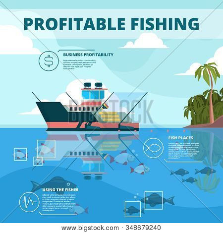 Fishing Boats Background. Ocean Water Fisher Ship Vector Infographic Picture. Fishing Boat, Marine N