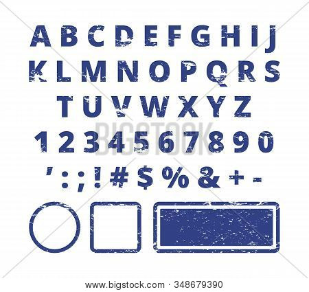 Rubber Stamp Font. Red Letters And Numbers Template Typography For Stamp. Script Texture, Print Type