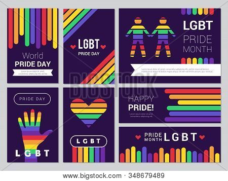 Supportive Lgbt Set. Colored Rainbow Banners For Lgbt Peoples Events Vector Illustrations. Lgbt Tole
