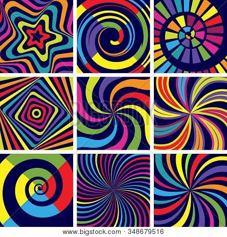 Hypnotic Colored Shapes. Abstract Round Spiral Modern Background Vector Wallpaper For Psychology Cli