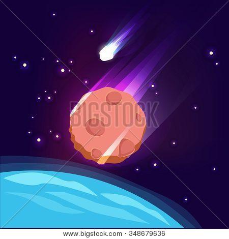 Asteroid In Space. Meteorite In Sky Dark Apocalypse Concept Big Star Comet Glowing Vector Background