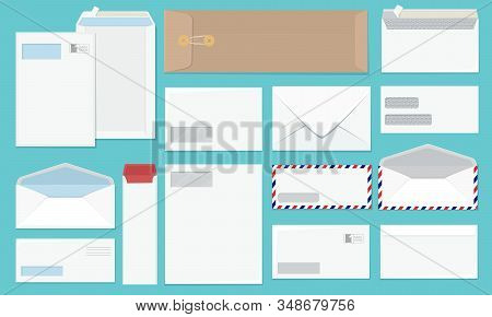Blank Envelope. Office A4 Paper Corporate Style Envelopes Collection Vector Mockup Set. Envelope Tem