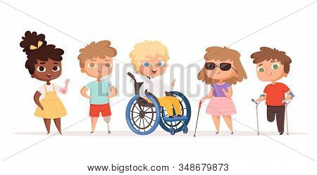 Disability Kids. Children In Wheelchair Unhealthy People Handicapped Vector People. Disability Child