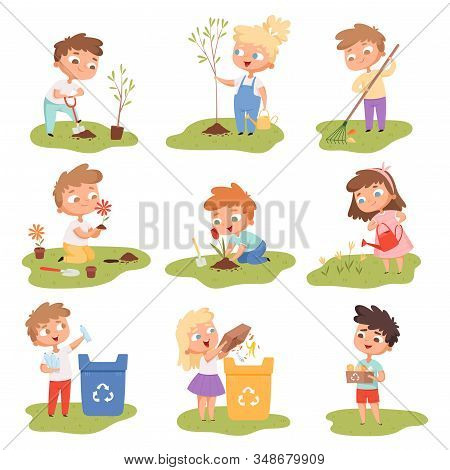 Kids Planting. Happy Children Gardening Digging Picking Plants Eco Weather Protect Tree Vector Set.