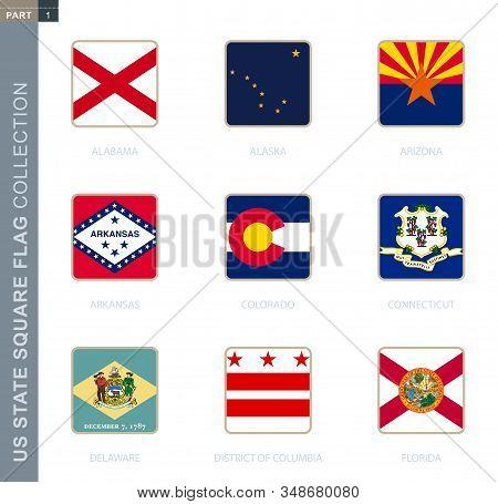 Square Flags Collection Of Us States. Usa State Square Flags Of Alabama, Alaska, Arizona, Arkansas,