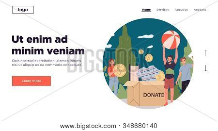 Positive Young Volunteers Packing Donation Box. Container, Clothing, Cash Flat Vector Illustration.