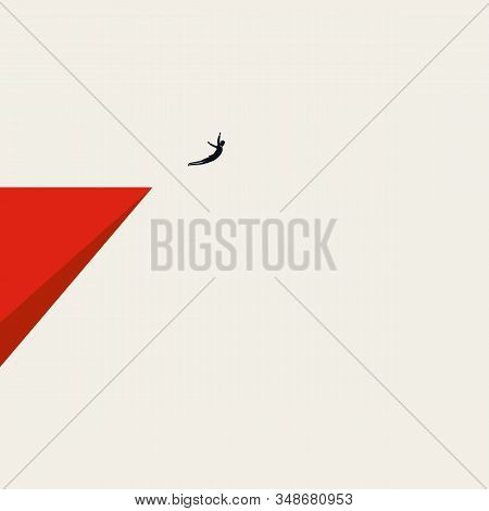 Business Courage And Bravery Vector Concept With Businessman Jumping Off A Cliff. Symbol Of New Care