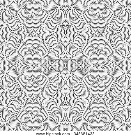 Seamless Geometric Vector Template. Abstract Linear Drawing  With The Distorted Lines. Graphic Desig