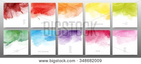 Set Of Bright Colors Watercolor Background. Template Design For Banner, Poster, Card, Brochure.