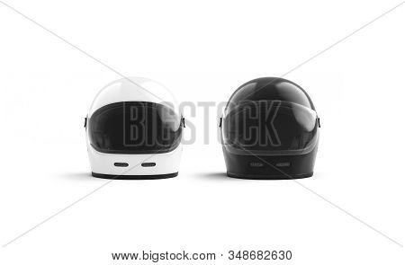 Blank Black And White Motorcyclist Helmet Mockup Set, Front View, 3d Rendering. Empty Motorcycling O