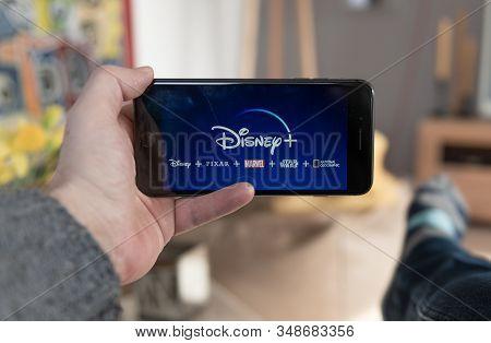 Amsterdam, The Netherlands, 02/03/2020, Disney+ Startscreen On  Mobile Phone. Disney+ Online Video,