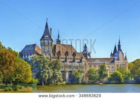View Of Vajdahunyad Castle From Lake, Budapest, Hungary