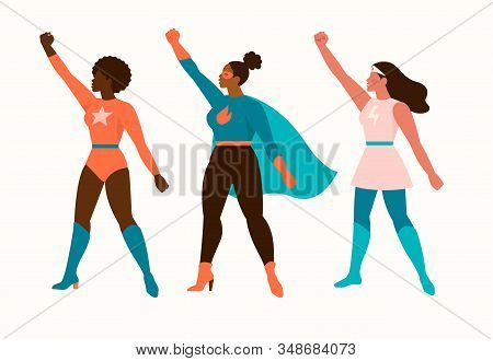 Superheroes Women Characters. Wonder Female Hero Character In Superhero Costume With Waving Cloak Di