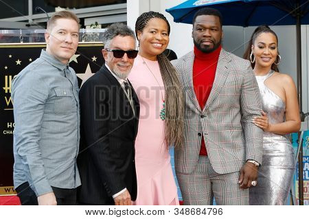 LOS ANGELES - JAN 30:  Joseph Sikora, M Canton, Courtney Agboh, Curtis Jackson, 50 Cent, LaLa Anthony at the 50 Cent Star Ceremony on the Hollywood Walk of Fame on January 30, 2019 in Los Angeles, CA