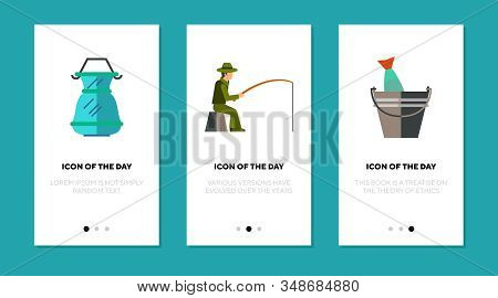 Fishing Activity Flat Icon Set. Angler, Trap, Fish, Bucket Isolated Sign Pack. Leisure, Hobby, Fishe