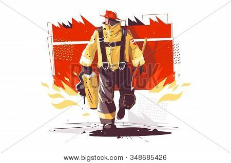 Firefighter Characters With Rescue Equipment Vector Illustration