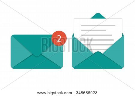 Set Of Icons Mail, E-mail. Opened And Closed Envelope. Online Postal Sign.paper Document Enclosed In