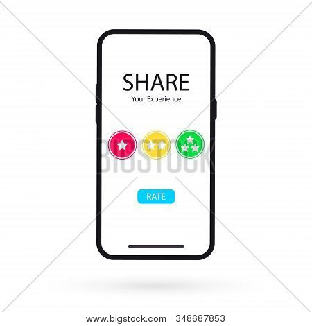 Online Application On Mobile Phone To Rate Your Experience. Review ,feedback, Rating On Smartphone.