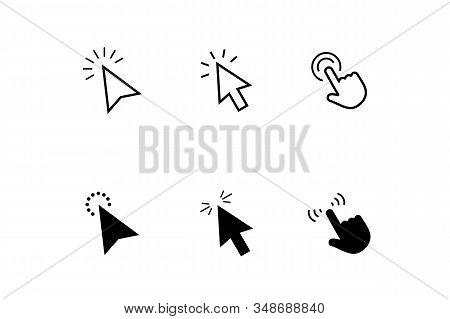 Click, Cursor, Pointer Icons Set. Set Of Different Mouse Cursors. Arrow Web Cursors. Click Arrow And