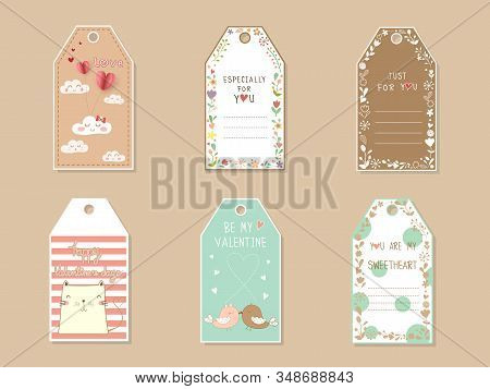 Pastel Color Valentines Day Tag Decorated With Wreath Flower, Cat, Lovebirds And Text Message. Cute